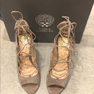 Vince Camuto - Lace Up Suede Heels, Size 8